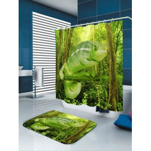 Forest Chameleon Print Waterproof Shower Curtain -