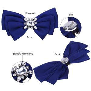 Faux Crystal Embellished Bowknot Fabric Brooch -