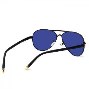 Unique Metal Full Frame Crossbar Embellished Pilot Sunglasses -