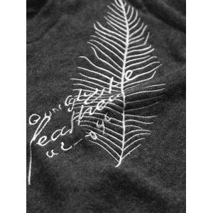 Crew Neck Leaf Embroidered Sweater -