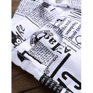 Narrow Feet Newspapers Print Skinny Jeans -
