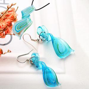 Coloured Glaze Spiral Embellished Drop Earrings and Necklace -