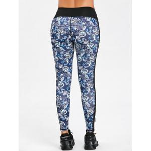 Floral Print Contrast Striped Skinny Sports Leggings -