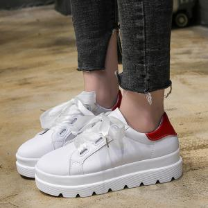 PU Leather Platform Heel Sneakers -