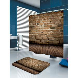 Waterproof Brick Wall Wood Print Bath Curtain -
