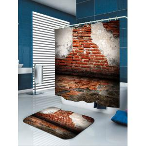 Waterproof Rotten Natural Stone Brick Print Shower Curtain -