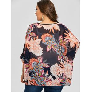 Flower Chiffon Plus Size  Cover Up Blouse -