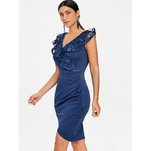 Lace Trimmed Ruched Bodycon Dress -