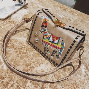Embroidery Rivets Crossbody Bag -