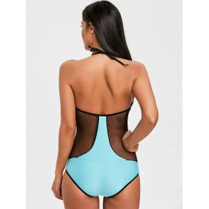 Fishnet Panel Two Tone One Piece Swimsuit -
