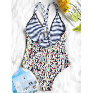 Penguin Strappy Low Cut One Piece Swimsuit -