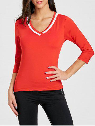 V Neck Contrast Sports T-shirt - RED - XL