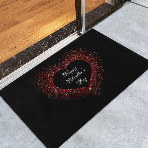 Valentine s Day Shining Heart Printed Coral Velvet Area Rug