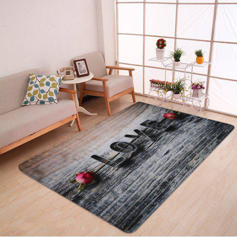 hot day roses and heart printed extra large area rug
