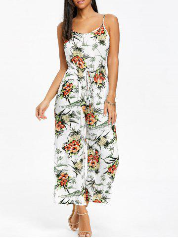 Cheap Chiffon Pineapple Print Wide Leg Jumpsuit
