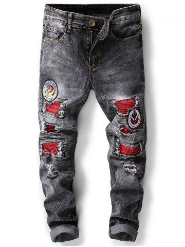Chic Appliques Design Distressed Jeans