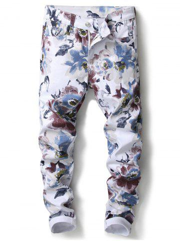 Chic Flowers Pattern Skinny Jeans