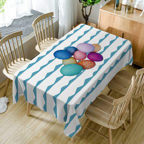 Trendy Colorful Eggs Curve Print Waterproof Table Cloth