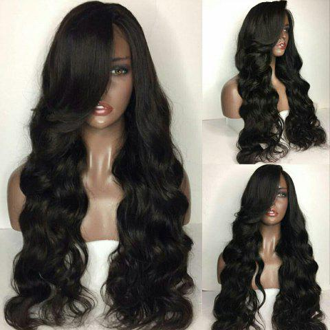 Chic Long Side Parting Fluffy Body Wave Lace Front Human Hair Wig