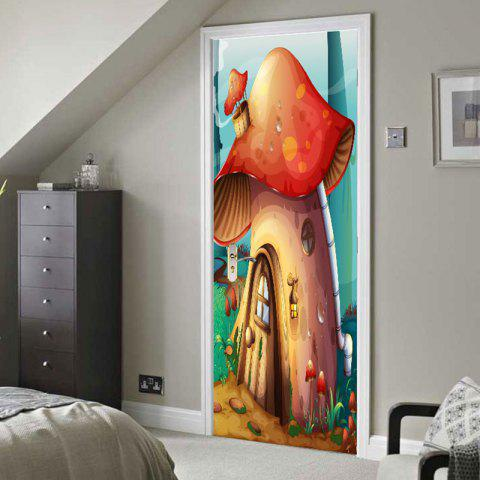 Hot Forest Mushroom House Print Door Stickers