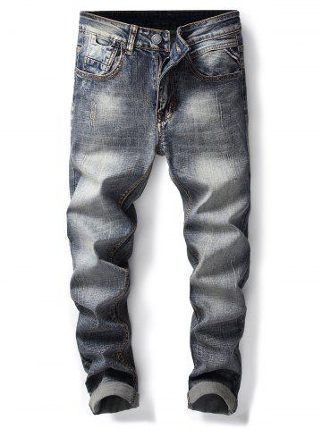 Discount Bleach Wash Straight Leg Ripped Jeans