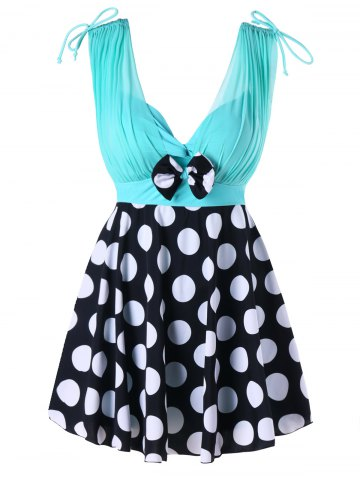 Online Polka Dot Print One Piece Skirted Swimsuit