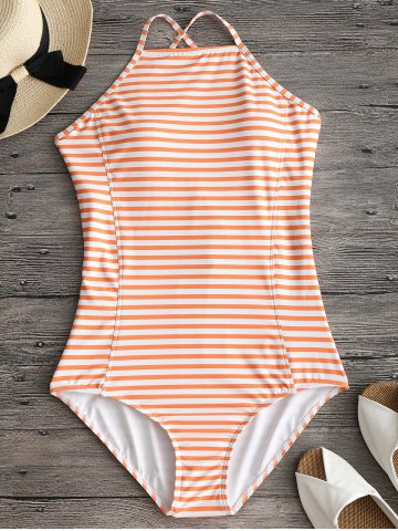 Best Criss Cross Back High Neck Striped Swimwear