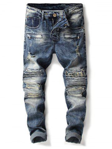 Cheap Bleached Accordion Pleat Ripped Biker Jeans