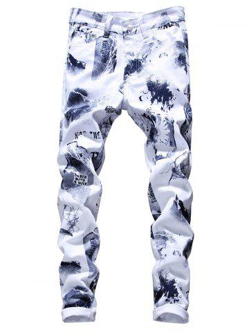 Cheap Tie Dye Graphic Print Skinny Jeans