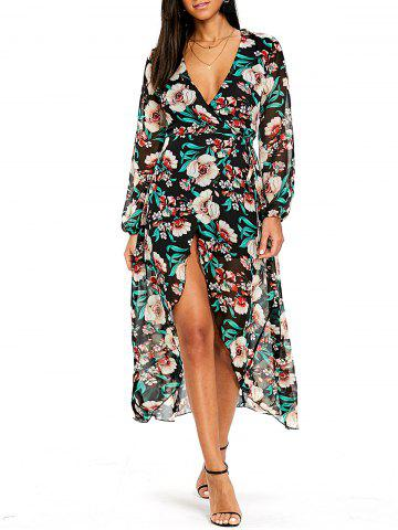 Store Plunging Flower Print Tulip Wrap Dress