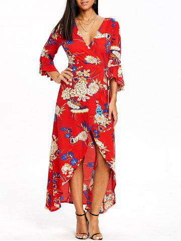 Discount Asymmetrical Bell Sleeve Flower Print Wrap Dress