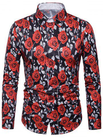 Trendy Cover Placket Valentine's Day 3D Roses Print Shirt