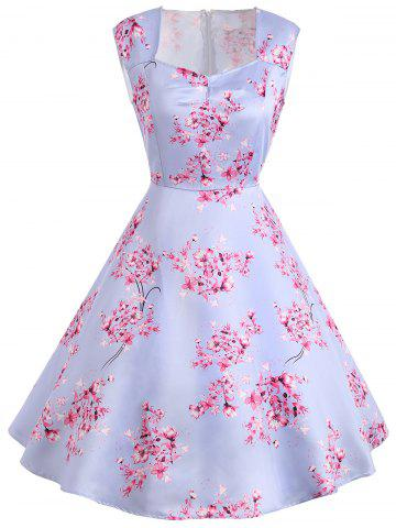 New Sleeveless Flower Print Vintage Dress