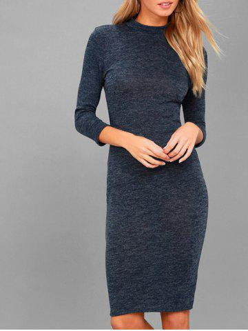 New Knee Length Mock Neck Bodycon Dress
