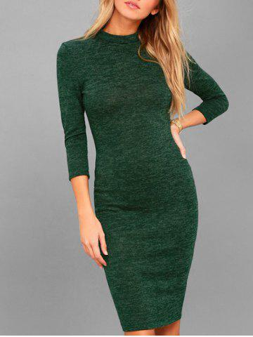 Outfits Knee Length Mock Neck Bodycon Dress