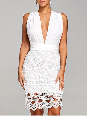 Discount Plunging Crochet Scalloped Club Dress