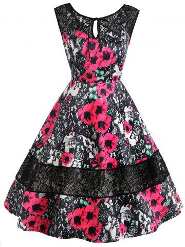 Cheap Lace Insert Floral Print Keyhole Vintage Dress