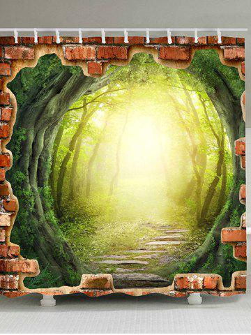 Unique 3D Tree Hole Forest Pathway Fabric Shower Curtain