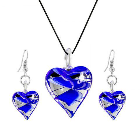 Chic Valentine's Day Heart Shape Glass Jewellery Set