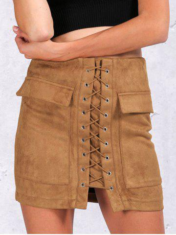 Outfits Flap Pockets Lace Up Skirt