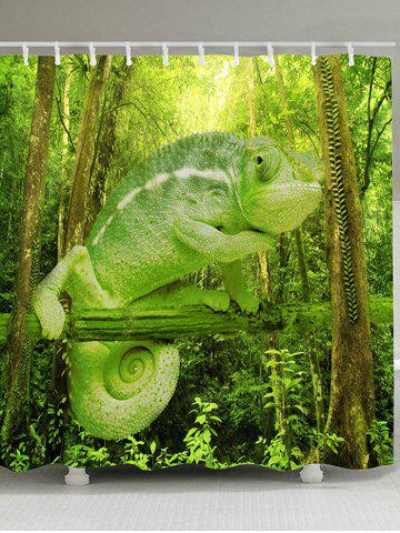 Trendy Forest Chameleon Print Waterproof Shower Curtain
