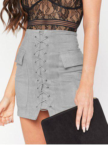 Shop Flap Pockets Lace Up Skirt