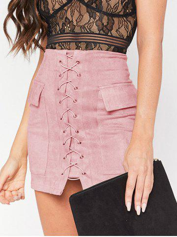 Discount Flap Pockets Lace Up Skirt