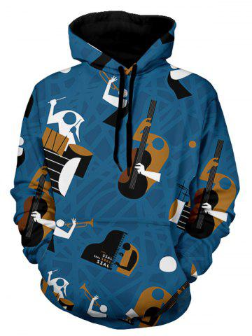 Abstract Musical Instruments Pattern Pullover Hoodie - BLUE - L