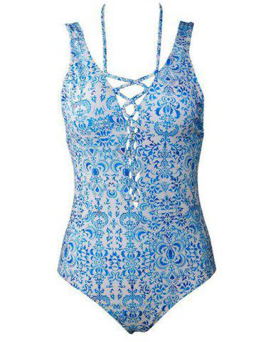 New Straps Printed Lace Up One Piece Swimsuit