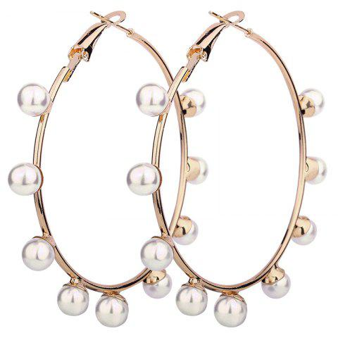 Outfit Unique Artificial Pearl Circle Hoop Earrings