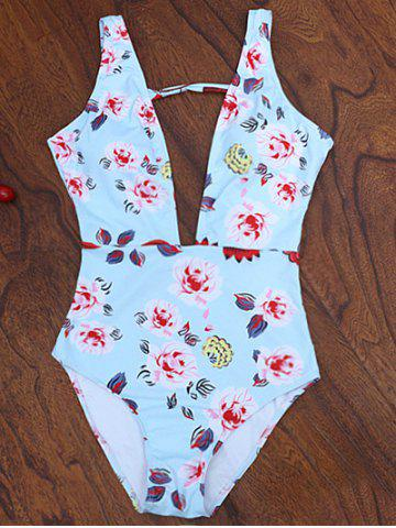 Store One Piece Plunging High Cut Floral Swimwear