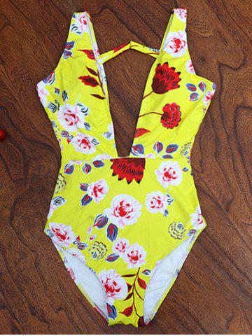 Outfits One Piece Plunging High Cut Floral Swimwear