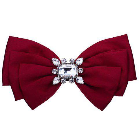 Outfit Faux Crystal Embellished Bowknot Fabric Brooch