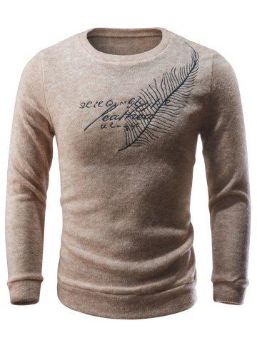 Online Crew Neck Leaf Embroidered Sweater